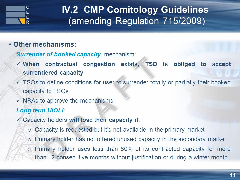 14 IV.2 CMP Comitology Guidelines (amending Regulation 715/2009) Other mechanisms: Surrender of booked capacity mechanism: When contractual congestion exists, TSO is obliged to accept surrendered capacity TSOs to define conditions for user to surrender totally or partially their booked capacity to TSOs NRAs to approve the mechanisms Long term UIOLI: Capacity holders will lose their capacity if: o Capacity is requested but it's not available in the primary market o Primary holder has not offered unused capacity in the secondary market o Primary holder uses less than 80% of its contracted capacity for more than 12 consecutive months without justification or during a winter month