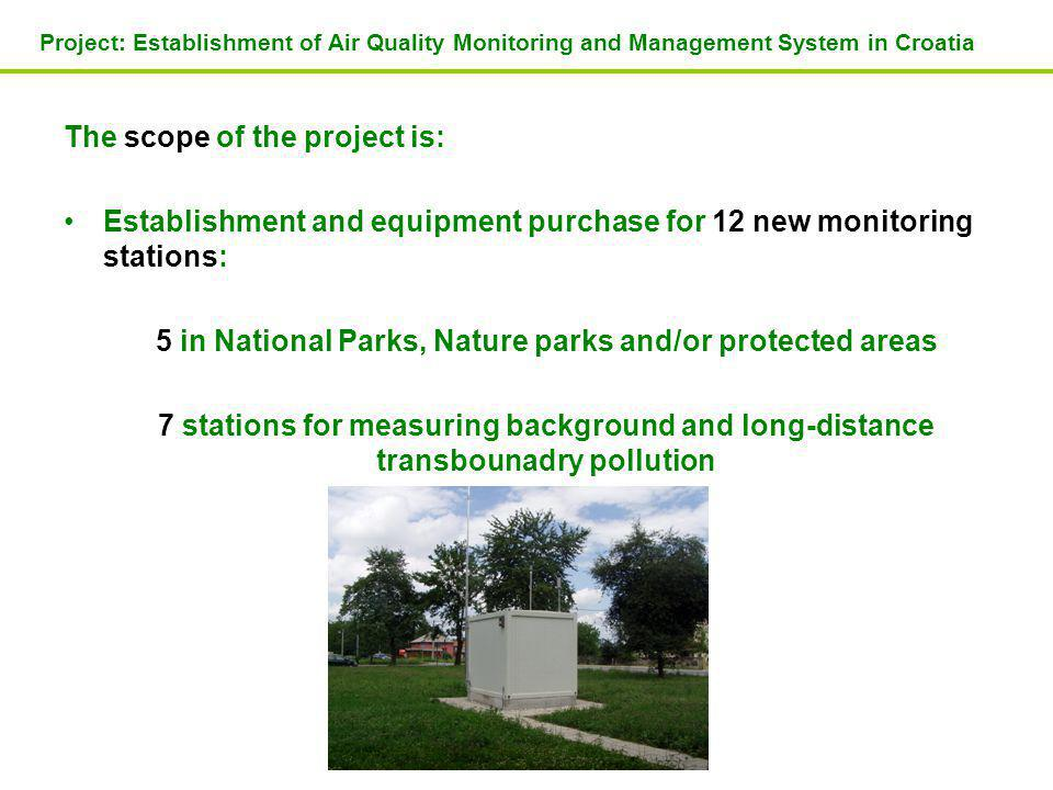 The scope of the project is: Establishment and equipment purchase for 12 new monitoring stations: 5 in National Parks, Nature parks and/or protected areas 7 stations for measuring background and long-distance transbounadry pollution Project: Establishment of Air Quality Monitoring and Management System in Croatia