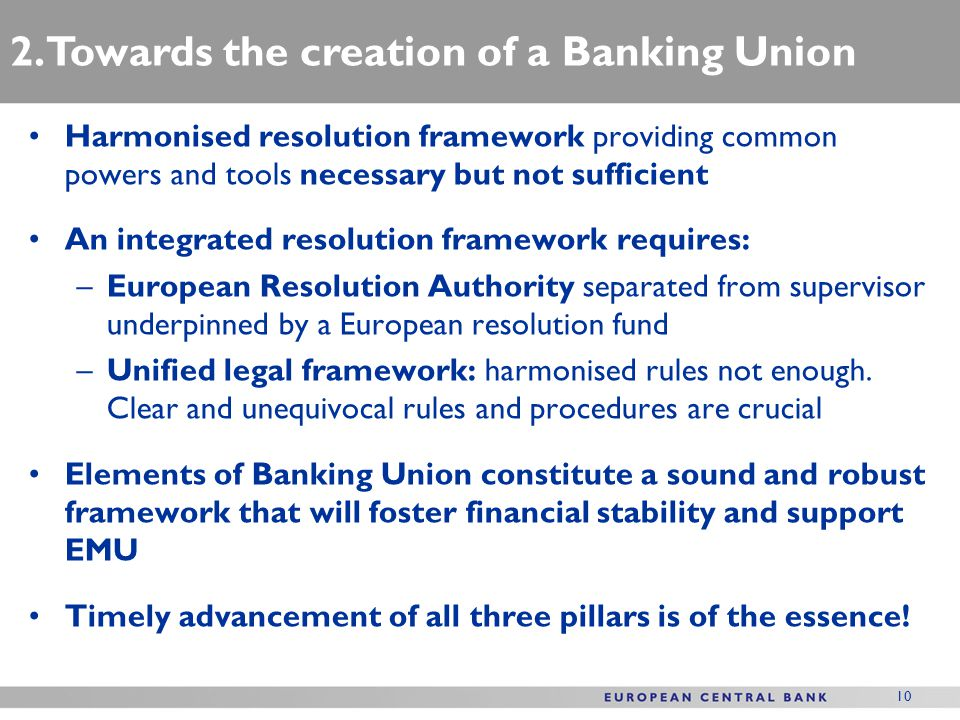 10 Harmonised resolution framework providing common powers and tools necessary but not sufficient An integrated resolution framework requires: –European Resolution Authority separated from supervisor underpinned by a European resolution fund –Unified legal framework: harmonised rules not enough.