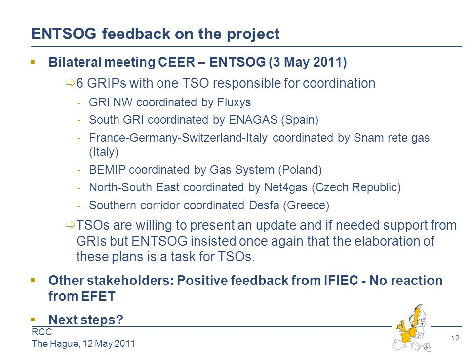 13 RCC The Hague, 12 May 2011  Open season to increase firm capacity from France to Luxembourg  Coordinated process between the TSOs (CREOS and GRTgaz) and the regulators (CRE and ILR)  Two possible scenarios: 9 GWh/d or 40 GWh/d available in 2015  Non-binding phase launched at the SG meeting (26 Nov.2010) – ended 31 January 2011  Launch of the binding phase currently under discussion  Aim of the project:  Use the GRI NW as a platform for discussion of the process  Outcome of discussions synthesized in a short paper in order to share the lessons from this process, in terms of coordination, allocation rules (joint allocation office), transparency etc…  Feed the discussions on the European level: revision of the GGPOS  Expected milestones:  October 2011: presentation of the progress of the OS at SG meeting and preliminary lessons learned  November 2011: Final paper on lessons learned to be shared at a European level for the GGPOS revision Monitoring the OS between France and Luxembourg