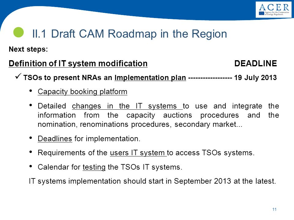 11 Next steps: Definition of IT system modification DEADLINE TSOs to present NRAs an Implementation plan ------------------ 19 July 2013 Capacity book