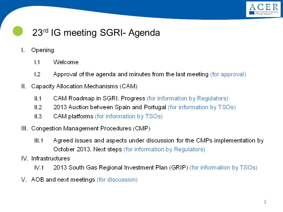 2 23 rd IG meeting SGRI- Agenda