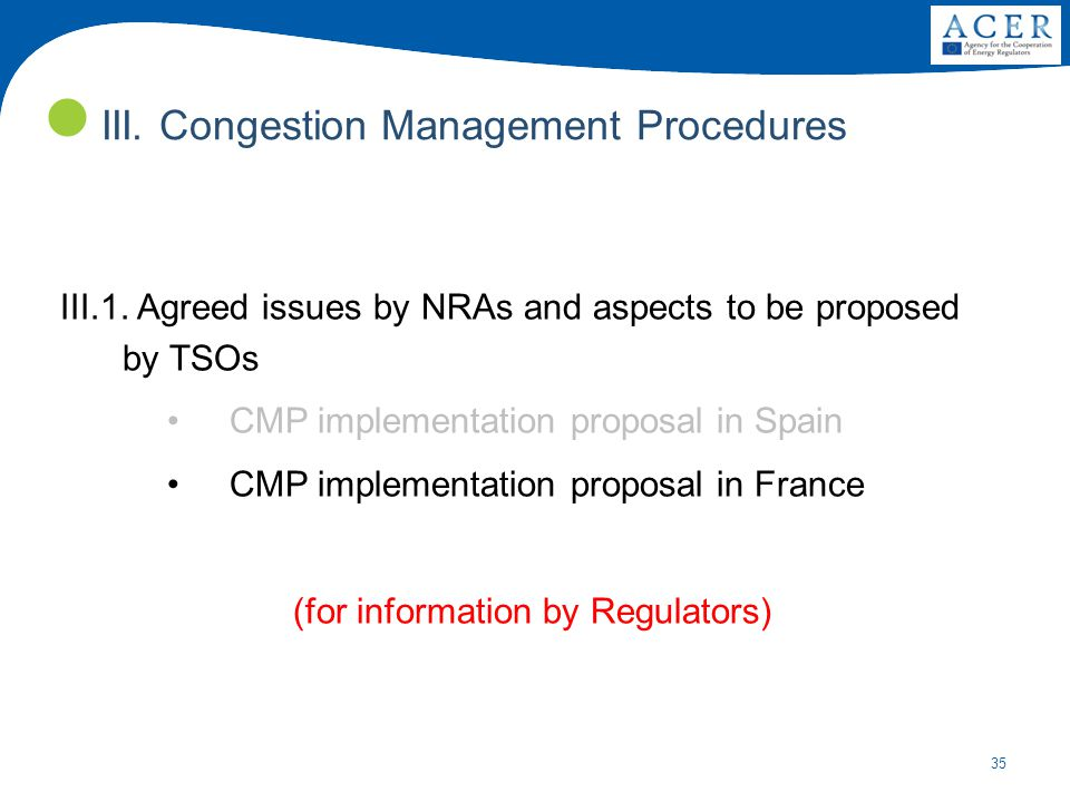 35 III.Congestion Management Procedures III.1.