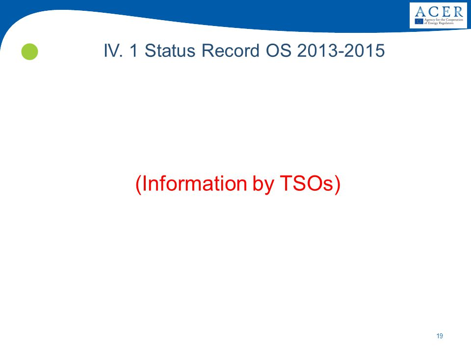 19 IV. 1 Status Record OS 2013-2015 (Information by TSOs)