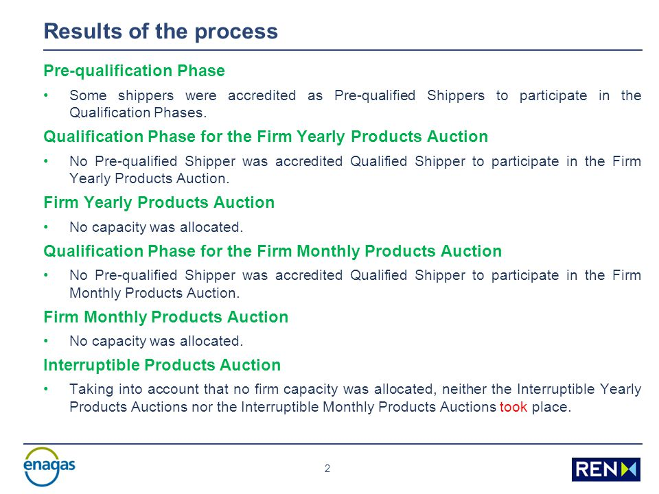 2 Results of the process Pre-qualification Phase Some shippers were accredited as Pre-qualified Shippers to participate in the Qualification Phases.