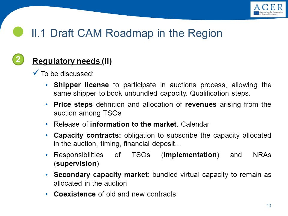 13 Regulatory needs (II) To be discussed: Shipper license to participate in auctions process, allowing the same shipper to book unbundled capacity.
