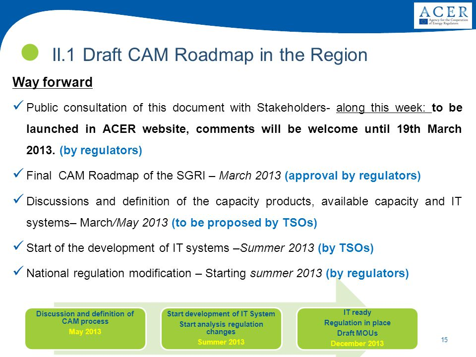 15 Way forward Public consultation of this document with Stakeholders- along this week: to be launched in ACER website, comments will be welcome until 19th March 2013.