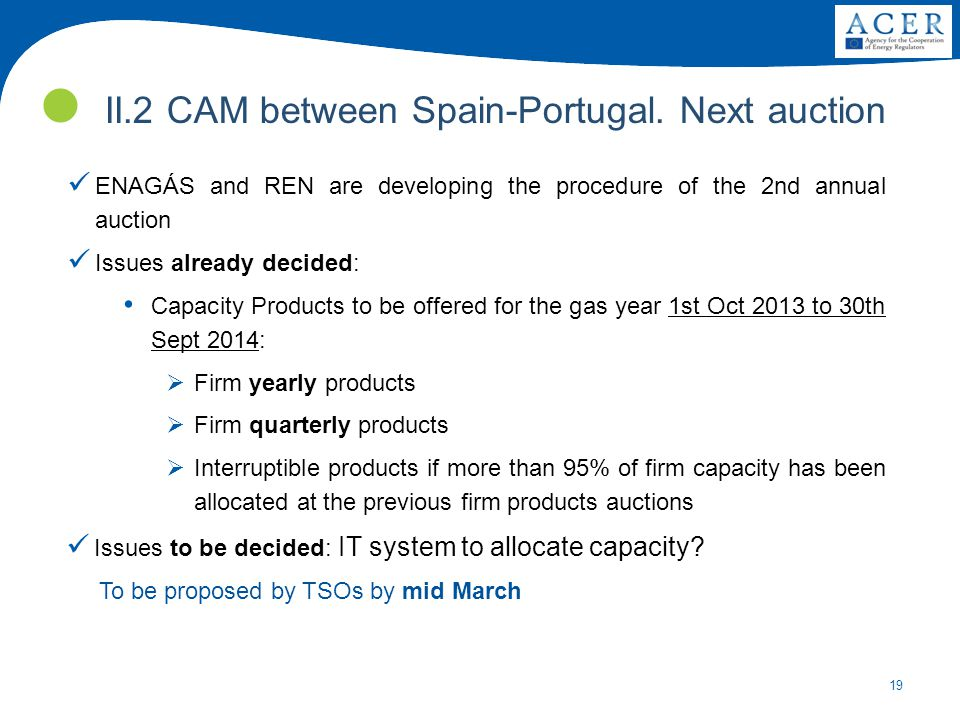 19 II.2 CAM between Spain-Portugal. Next auction ENAGÁS and REN are developing the procedure of the 2nd annual auction Issues already decided: Capacit