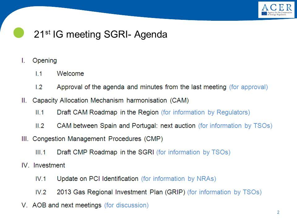 2 21 st IG meeting SGRI- Agenda