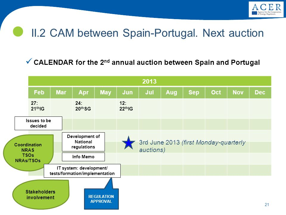 21 II.2 CAM between Spain-Portugal. Next auction CALENDAR for the 2 nd annual auction between Spain and Portugal 2013 FebMarAprMayJunJulAugSepOctNovDe
