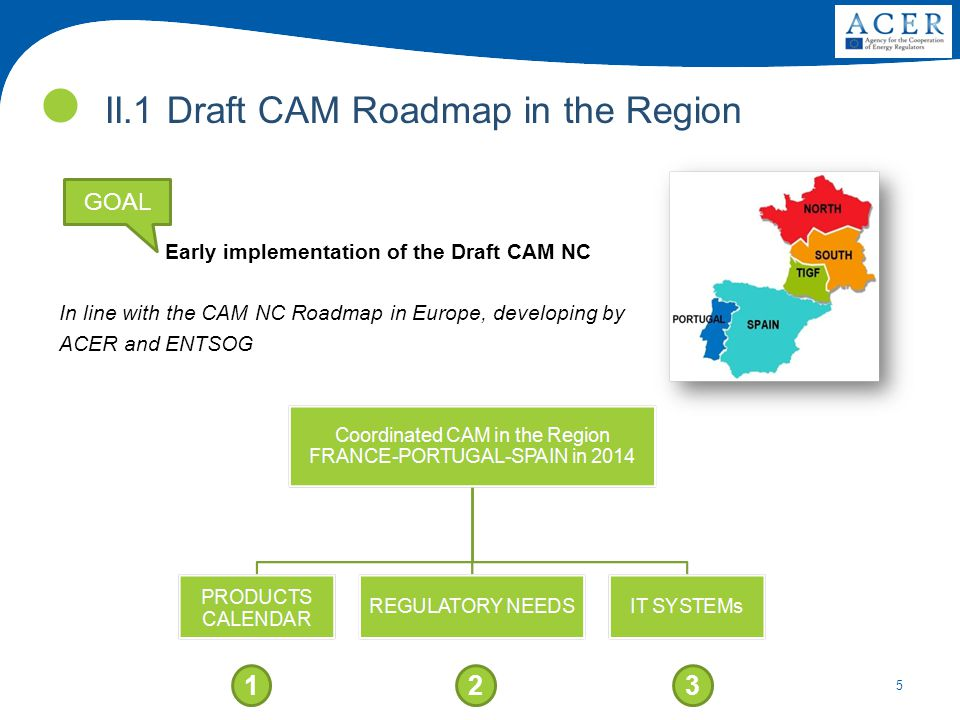 5 II.1 Draft CAM Roadmap in the Region Early implementation of the Draft CAM NC 123 GOAL In line with the CAM NC Roadmap in Europe, developing by ACER and ENTSOG