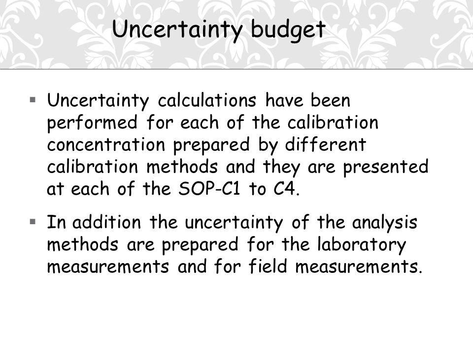  Uncertainty calculations have been performed for each of the calibration concentration prepared by different calibration methods and they are presented at each of the SOP-C1 to C4.