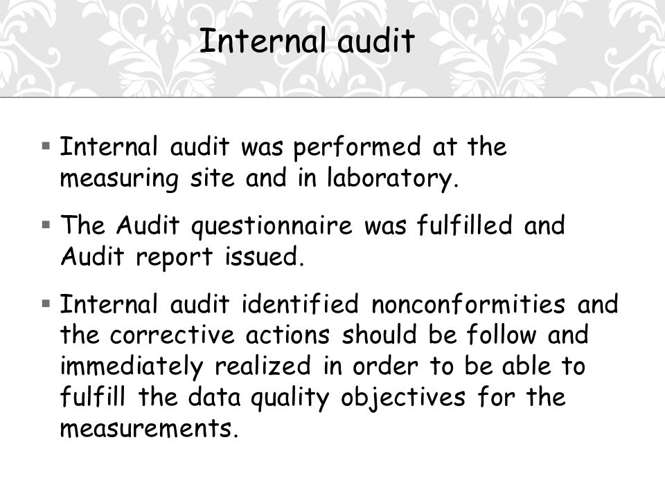  Internal audit was performed at the measuring site and in laboratory.