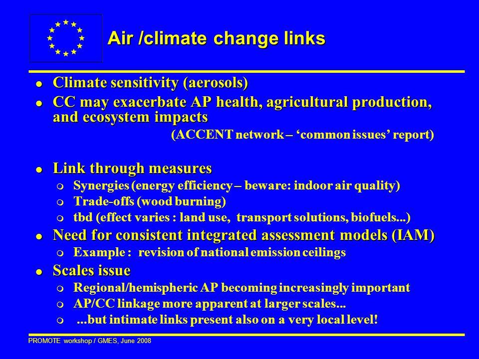 PROMOTE workshop / GMES, June 2008 Air /climate change links l Climate sensitivity (aerosols) l CC may exacerbate AP health, agricultural production,