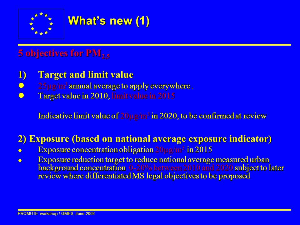 PROMOTE workshop / GMES, June 2008 What's new (1) 5 objectives for PM 2,5 1)Target and limit value l25µg/m 3 annual average to apply everywhere. lTarg