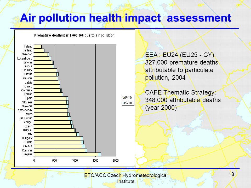 18 ETC/ACC Czech Hydrometeorological Institute Air pollution health impact assessment EEA : EU24 (EU25 - CY): 327,000 premature deaths attributable to particulate pollution, 2004 CAFE Thematic Strategy: 348,000 attributable deaths (year 2000)