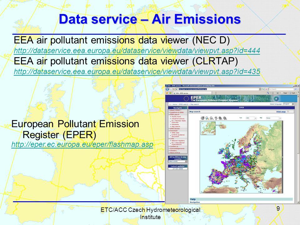 9 ETC/ACC Czech Hydrometeorological Institute Data service – Air Emissions EEA air pollutant emissions data viewer (NEC D) http://dataservice.eea.europa.eu/dataservice/viewdata/viewpvt.asp?id=444 EEA air pollutant emissions data viewer (CLRTAP) http://dataservice.eea.europa.eu/dataservice/viewdata/viewpvt.asp?id=435 European Pollutant Emission Register (EPER) http://eper.ec.europa.eu/eper/flashmap.asp