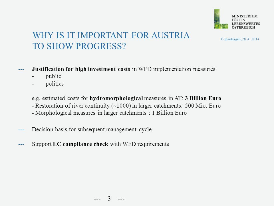 ---Justification for high investment costs in WFD implementation measures -public -politics e.g.