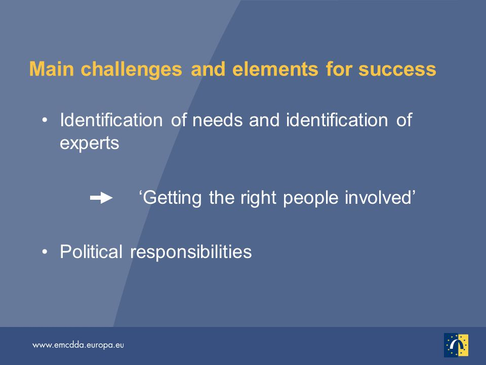 Main challenges and elements for success Identification of needs and identification of experts 'Getting the right people involved' Political responsibilities