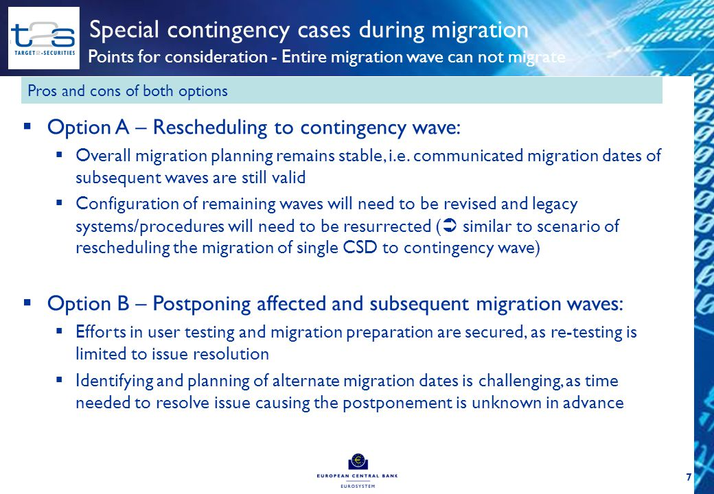 7 Special contingency cases during migration Points for consideration - Entire migration wave can not migrate  Option A – Rescheduling to contingency wave:  Overall migration planning remains stable, i.e.