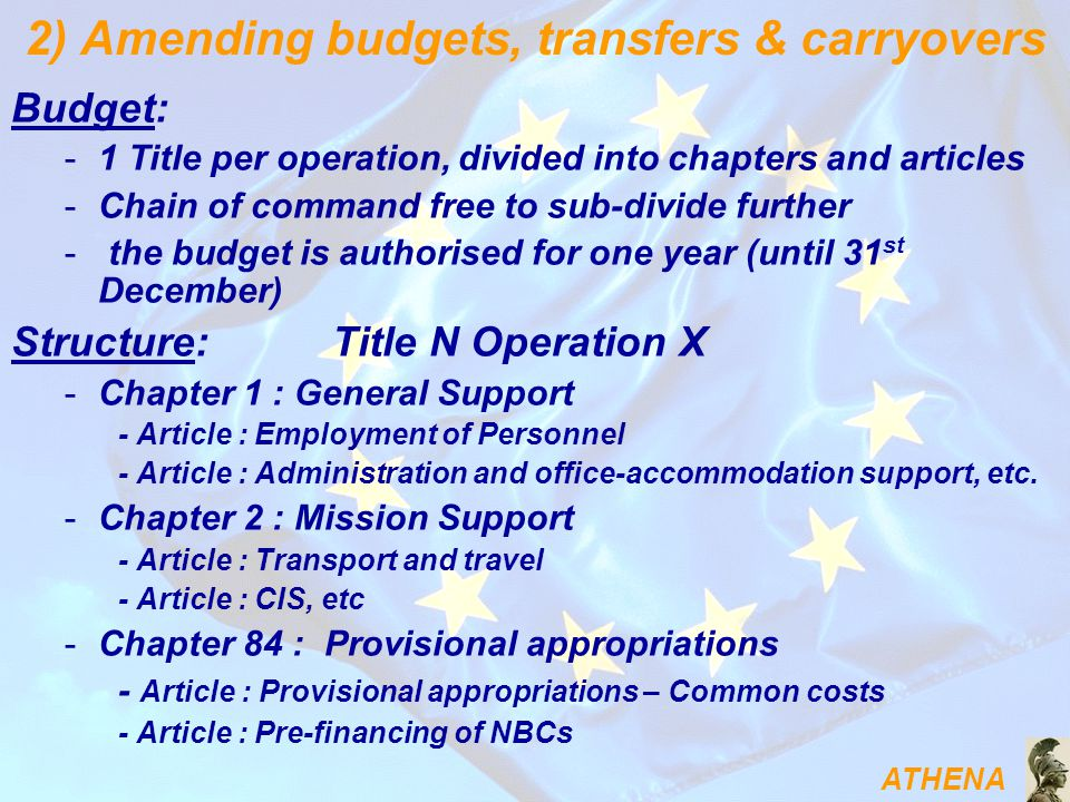 ATHENA Budget: -1 Title per operation, divided into chapters and articles -Chain of command free to sub-divide further - the budget is authorised for one year (until 31 st December) Structure: Title N Operation X -Chapter 1 : General Support - Article : Employment of Personnel - Article : Administration and office-accommodation support, etc.