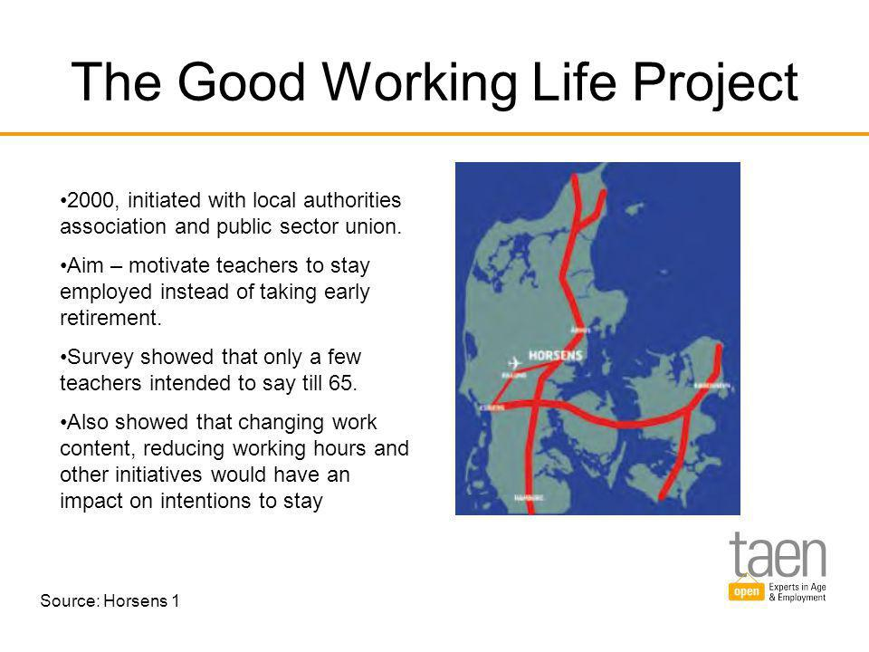 The Good Working Life Project 2000, initiated with local authorities association and public sector union.