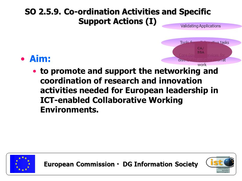European Commission DG Information Society Aim: to promote and support the networking and coordination of research and innovation activities needed for European leadership in ICT-enabled Collaborative Working Environments.