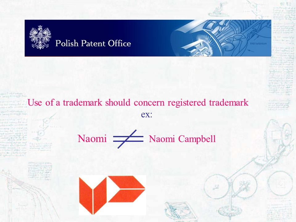 Use of a trademark should concern registered trademark ex: Naomi Naomi Campbell