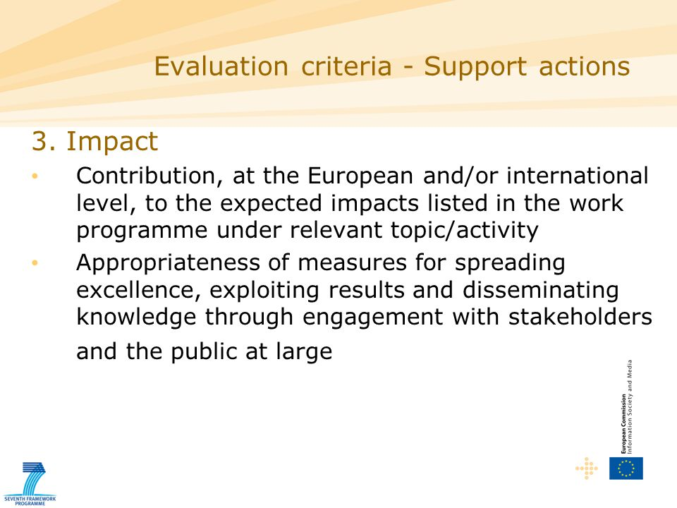 Purpose: Support to programme implementation, preparation of future actions, dissemination of results Target audience: Research organisations, universities, industry incl.