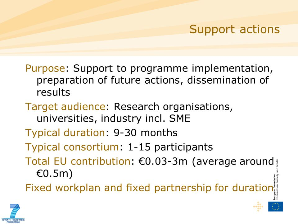  A well-planned action with clear and achievable aims which directly supports the work of the ICT Theme  While it may be worthwhile in many other respects, there is no evident benefit to the objectives of the ICT Theme as described in the ICT Workprogramme The proposal is for a research activity Support actions