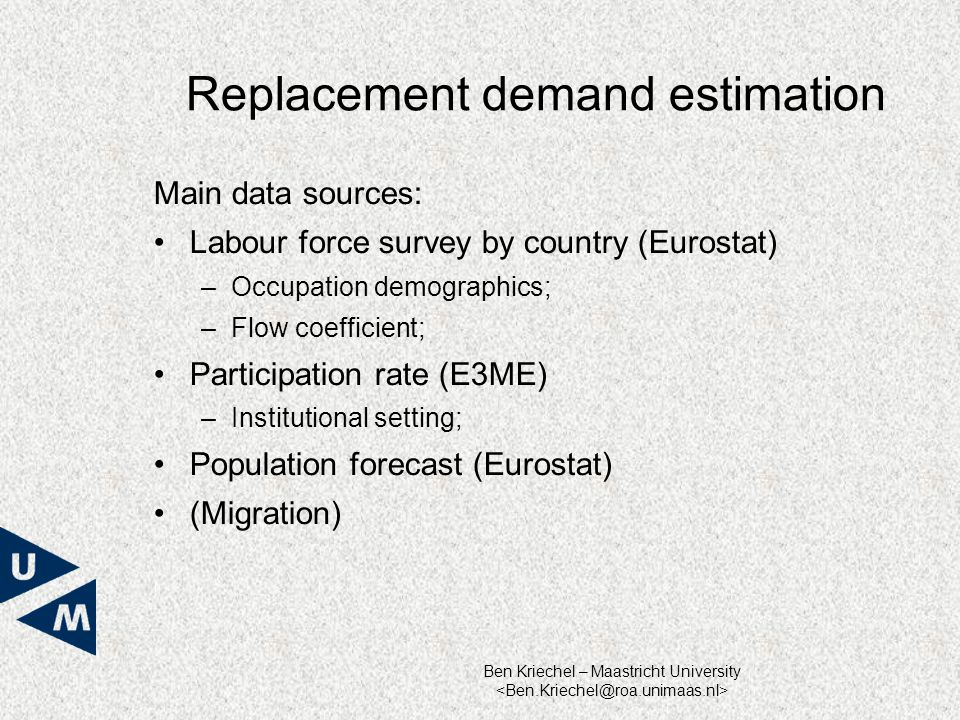 Ben Kriechel – Maastricht University Replacement demand estimation Main data sources: Labour force survey by country (Eurostat) – Occupation demographics; – Flow coefficient; Participation rate (E3ME) – Institutional setting; Population forecast (Eurostat) (Migration)