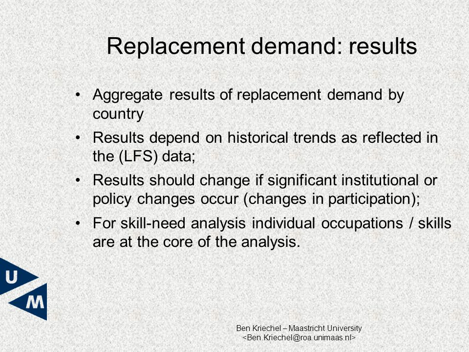 Ben Kriechel – Maastricht University Replacement demand: results Aggregate results of replacement demand by country Results depend on historical trends as reflected in the (LFS) data; Results should change if significant institutional or policy changes occur (changes in participation); For skill-need analysis individual occupations / skills are at the core of the analysis.