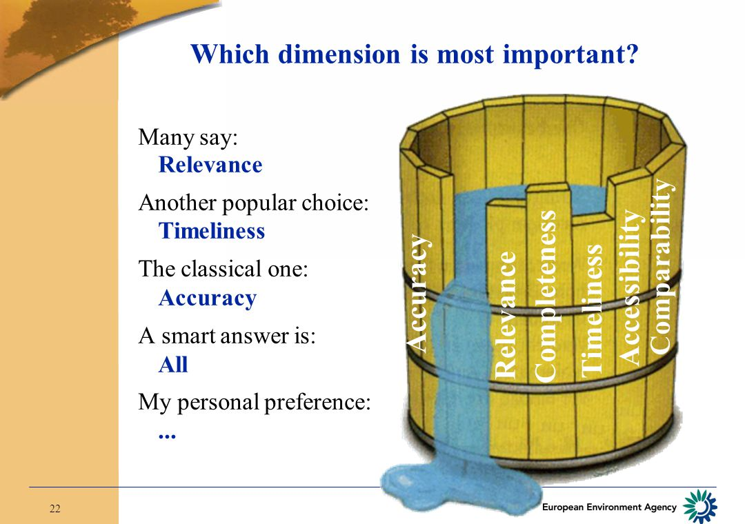22 Which dimension is most important? Relevance Timeliness Comparability Accuracy Accessibility Completeness Many say: Relevance Another popular choic