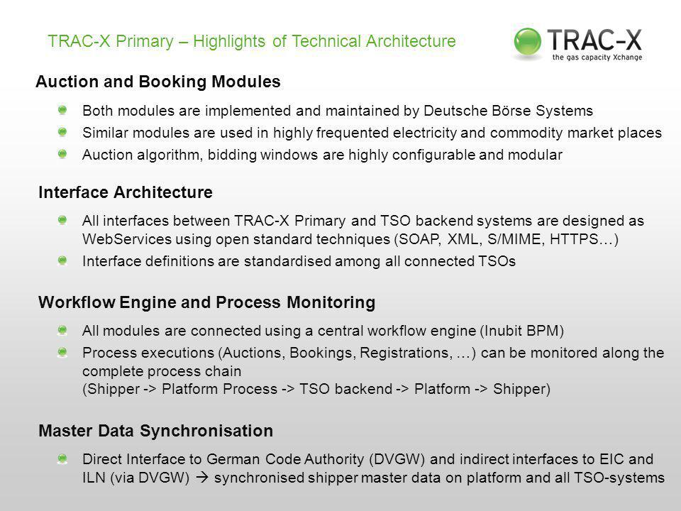 TRAC-X Primary – Highlights of Technical Architecture Auction and Booking Modules Both modules are implemented and maintained by Deutsche Börse Systems Similar modules are used in highly frequented electricity and commodity market places Auction algorithm, bidding windows are highly configurable and modular Interface Architecture All interfaces between TRAC-X Primary and TSO backend systems are designed as WebServices using open standard techniques (SOAP, XML, S/MIME, HTTPS…) Interface definitions are standardised among all connected TSOs Workflow Engine and Process Monitoring All modules are connected using a central workflow engine (Inubit BPM) Process executions (Auctions, Bookings, Registrations, …) can be monitored along the complete process chain (Shipper -> Platform Process -> TSO backend -> Platform -> Shipper) Master Data Synchronisation Direct Interface to German Code Authority (DVGW) and indirect interfaces to EIC and ILN (via DVGW)  synchronised shipper master data on platform and all TSO-systems