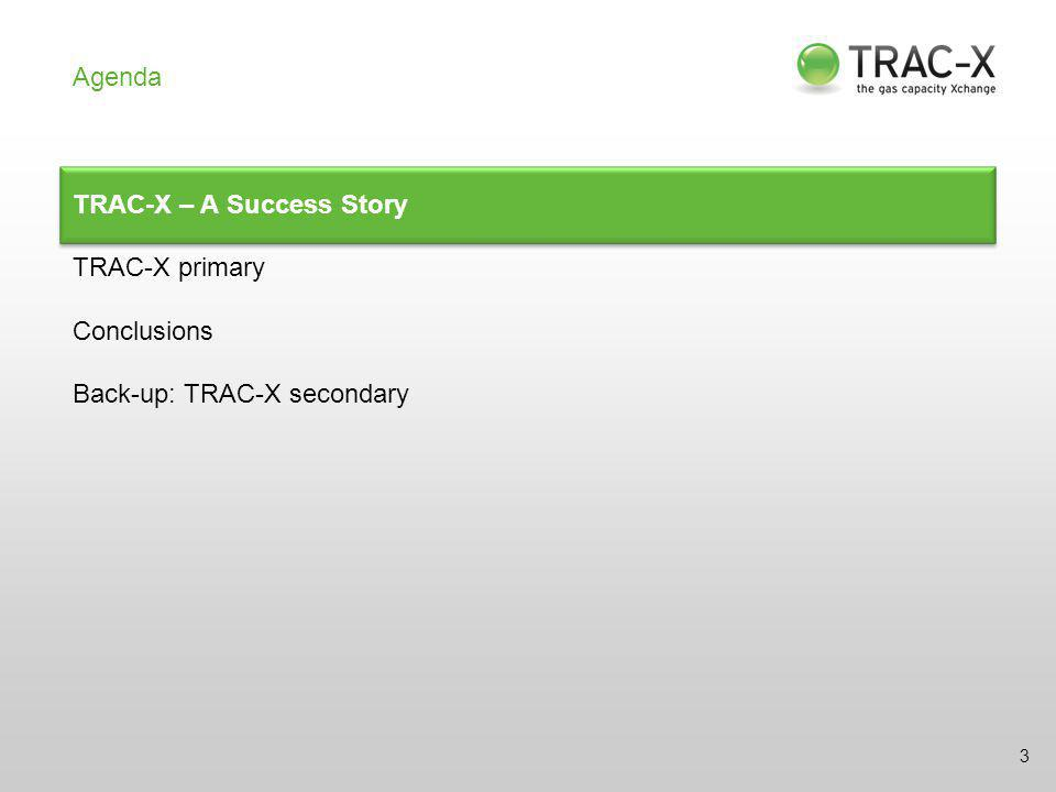 TRAC-X primary Launch of the Primary Capacity Platform ACTUAL Since 01/08/2011: Registration  all German TSOs Since 30/08/2011: Quarterly auctions  all German TSOs Since 06/09/2011: FCFS bookings  ENID, EWE Netz, Gasunie Dtl.