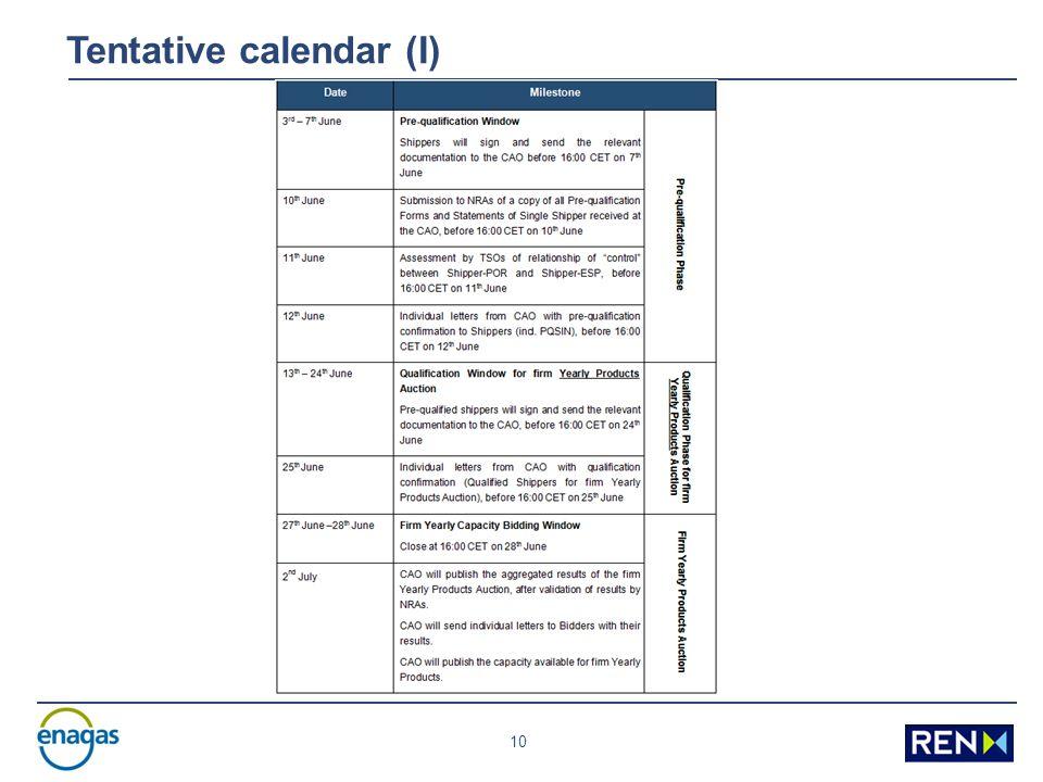 10 Tentative calendar (I)