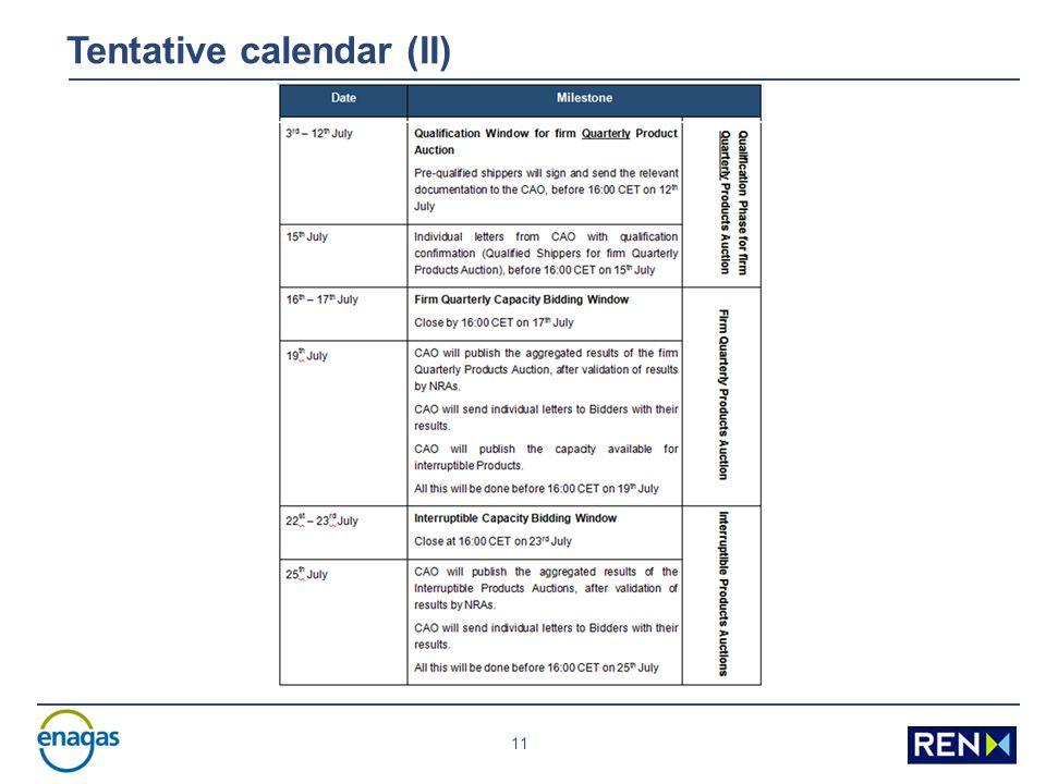11 Tentative calendar (II)