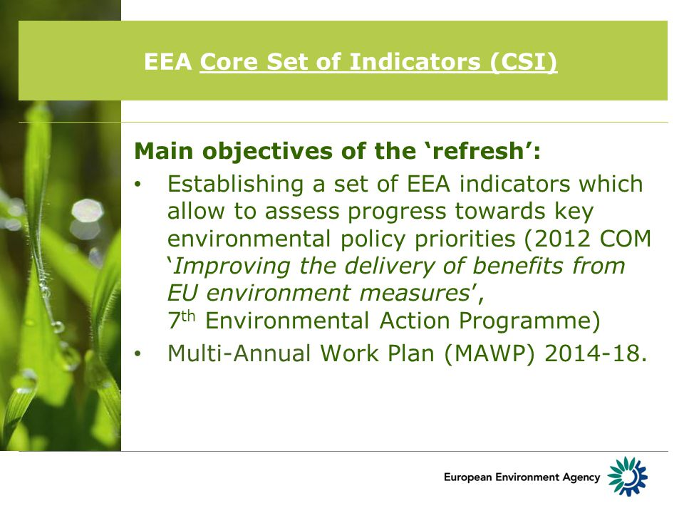 EEA Core Set of Indicators (CSI) MAWP 2014-2018 – informing policy implementation Refreshed CSI thematic structure 1.1 Air pollution, transport and noise1.