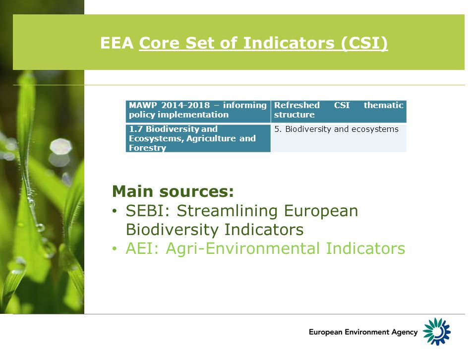 EEA Core Set of Indicators (CSI) MAWP 2014-2018 – informing policy implementation Refreshed CSI thematic structure 1.7 Biodiversity and Ecosystems, Agriculture and Forestry 5.