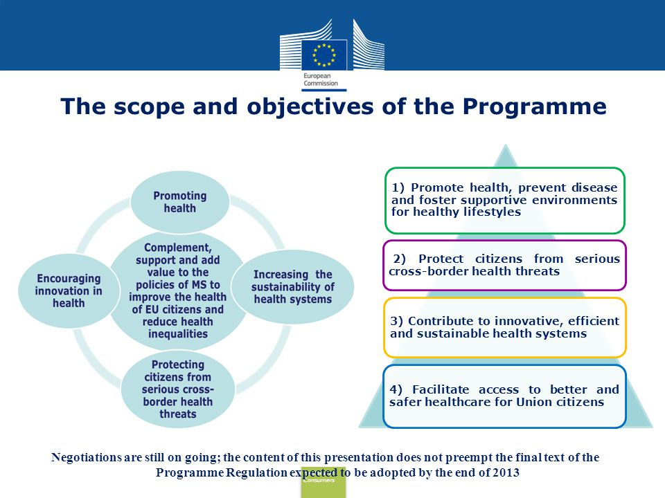Health and Consumers Health and Consumers The scope and objectives of the Programme 1) Promote health, prevent disease and foster supportive environme