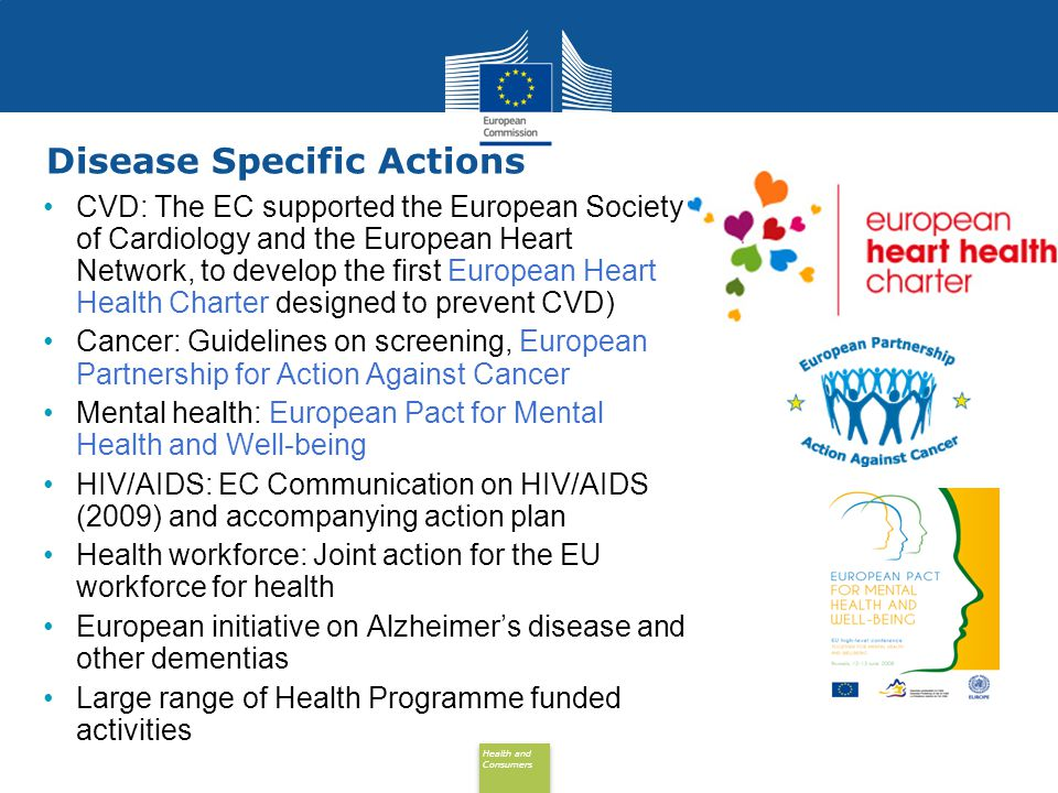 Health and Consumers Health and Consumers Disease Specific Actions CVD: The EC supported the European Society of Cardiology and the European Heart Network, to develop the first European Heart Health Charter designed to prevent CVD) Cancer: Guidelines on screening, European Partnership for Action Against Cancer Mental health: European Pact for Mental Health and Well-being HIV/AIDS: EC Communication on HIV/AIDS (2009) and accompanying action plan Health workforce: Joint action for the EU workforce for health European initiative on Alzheimer's disease and other dementias Large range of Health Programme funded activities