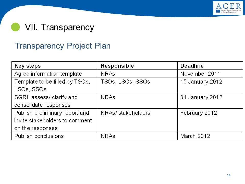 14 VII. Transparency Transparency Project Plan