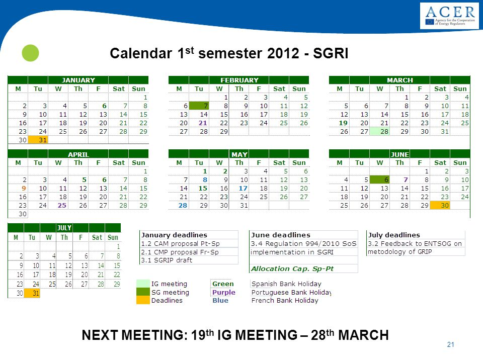 21 NEXT MEETING: 19 th IG MEETING – 28 th MARCH Calendar 1 st semester 2012 - SGRI