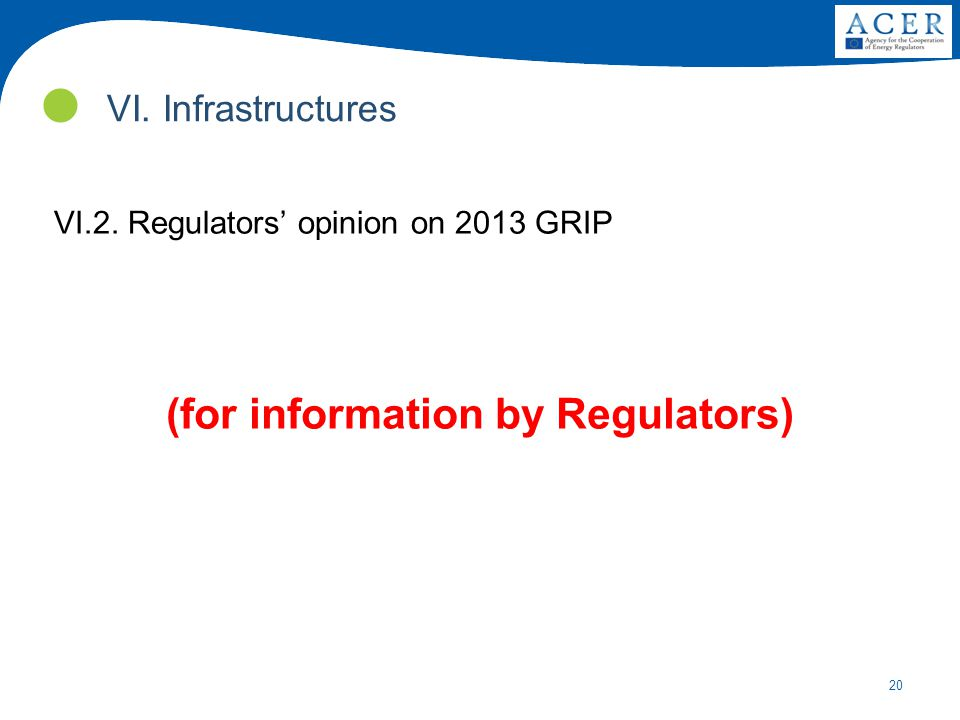 20 VI.2. Regulators' opinion on 2013 GRIP (for information by Regulators) VI. Infrastructures