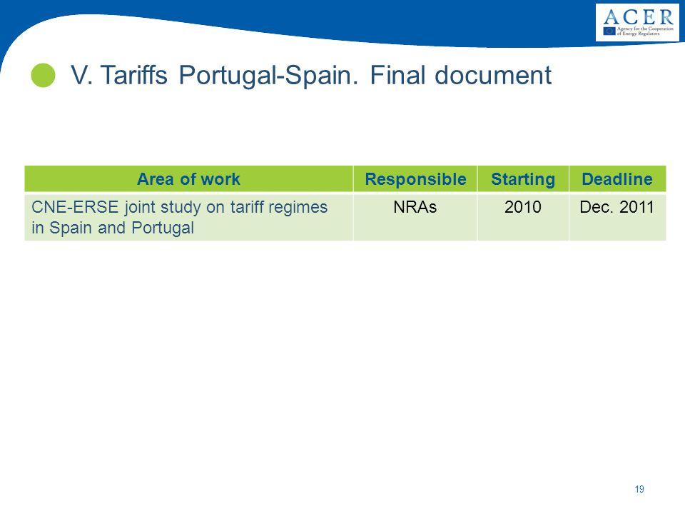 19 V. Tariffs Portugal-Spain. Final document Area of workResponsibleStartingDeadline CNE-ERSE joint study on tariff regimes in Spain and Portugal NRAs
