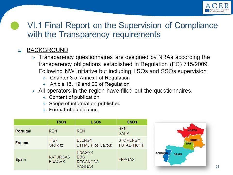 21 VI.1 Final Report on the Supervision of Compliance with the Transparency requirements onsulta Pública sobre harmonização das tarifas de interligaçã
