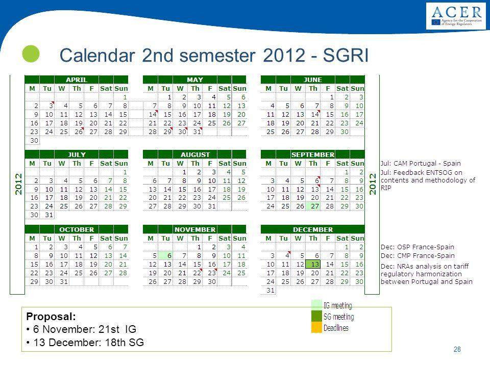 28 Calendar 2nd semester 2012 - SGRI Proposal: 6 November: 21st IG 13 December: 18th SG