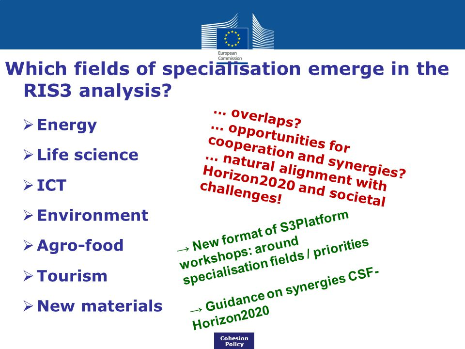  Energy  Life science  ICT  Environment  Agro-food  Tourism  New materials … overlaps? … opportunities for cooperation and synergies? … natural