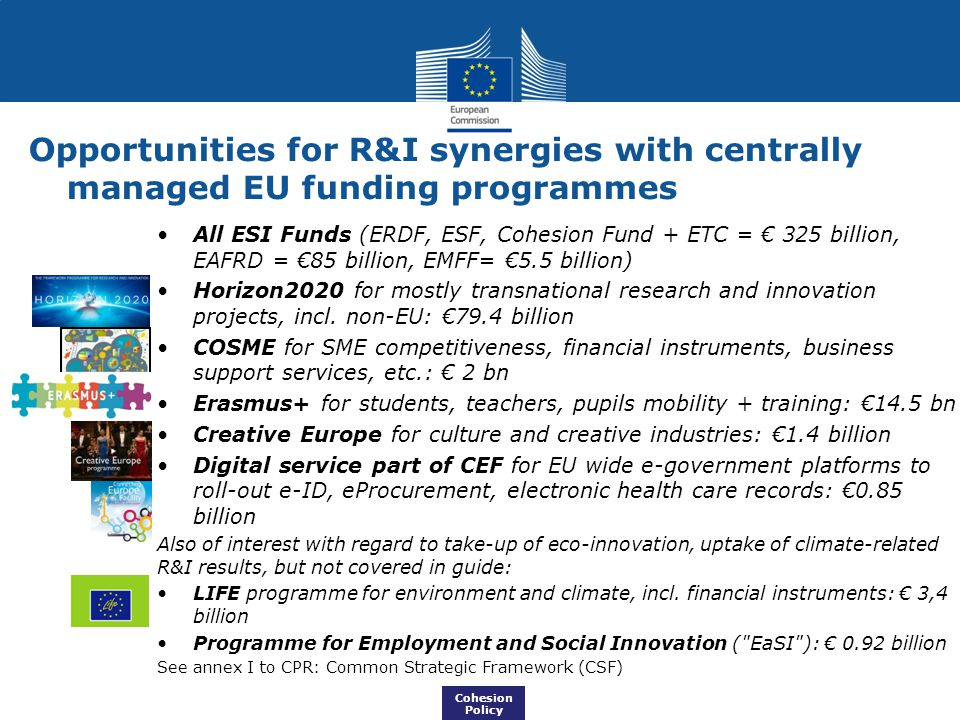Opportunities for R&I synergies with centrally managed EU funding programmes All ESI Funds (ERDF, ESF, Cohesion Fund + ETC = € 325 billion, EAFRD = €8