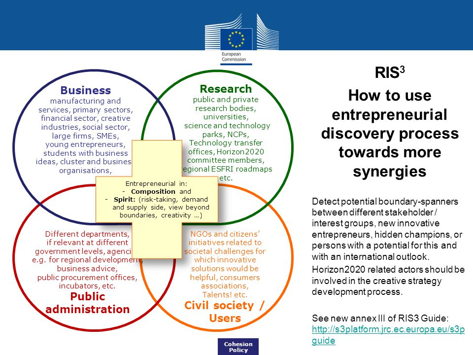RIS 3 How to use entrepreneurial discovery process towards more synergies Detect potential boundary-spanners between different stakeholder / interest